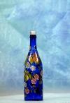 Бутыль 1 л синяя с декором